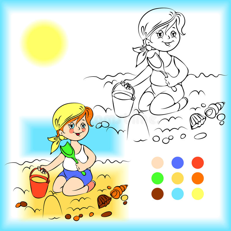 Free Baby On The Sand Coloring Book Stock Photo - 52511520