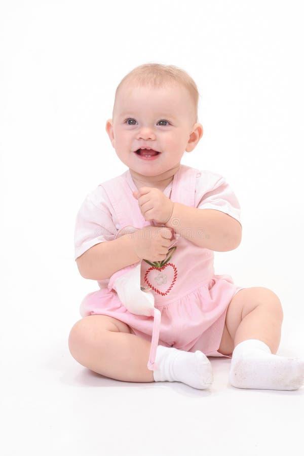 Baby op de witte achtergrond stock foto's