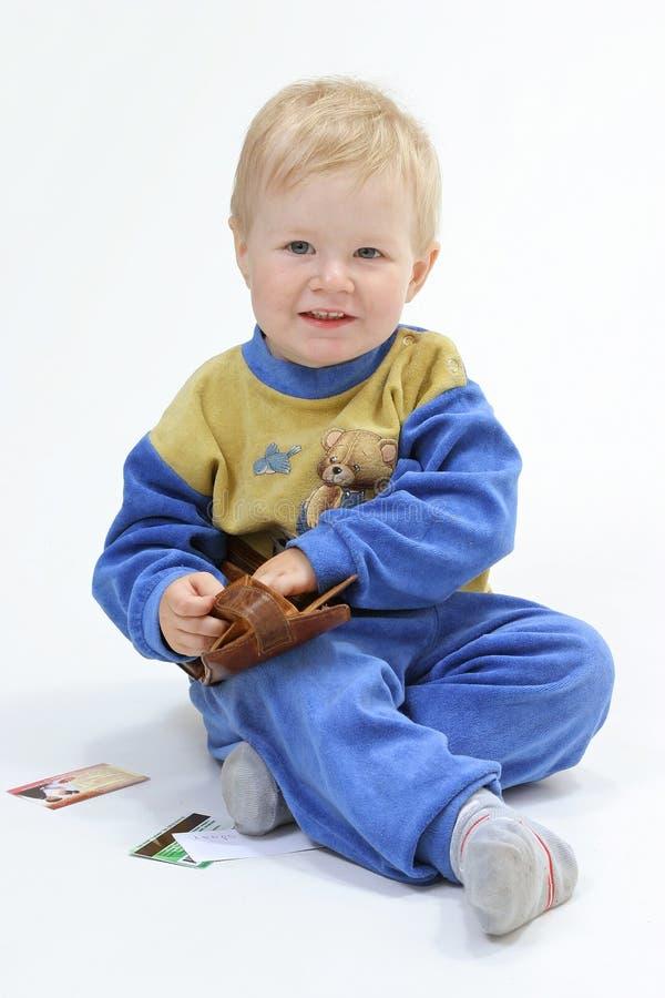 Baby op de witte achtergrond stock fotografie