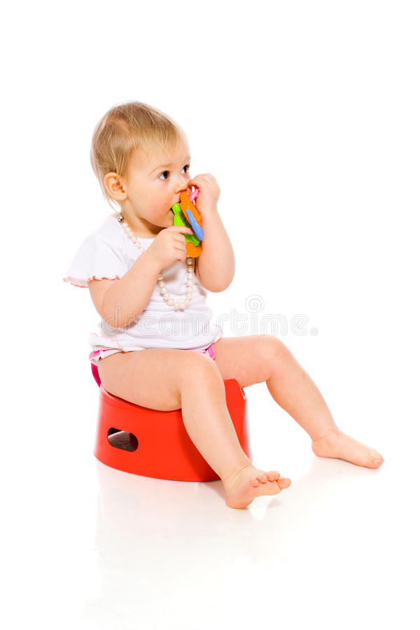 Baby op pot royalty-vrije stock afbeelding