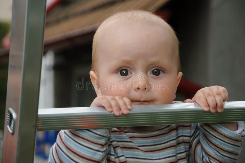 Baby op stapladder royalty-vrije stock afbeeldingen