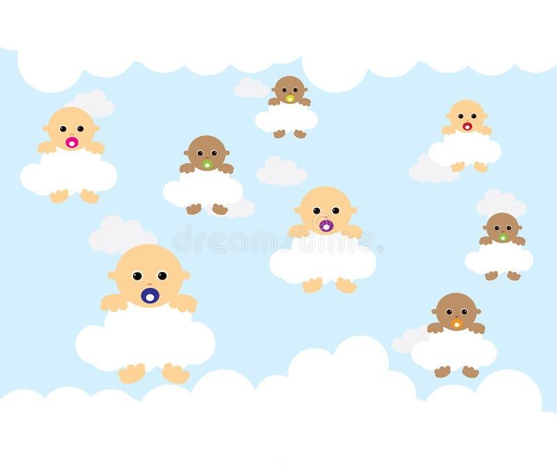 Baby op wolk stock illustratie