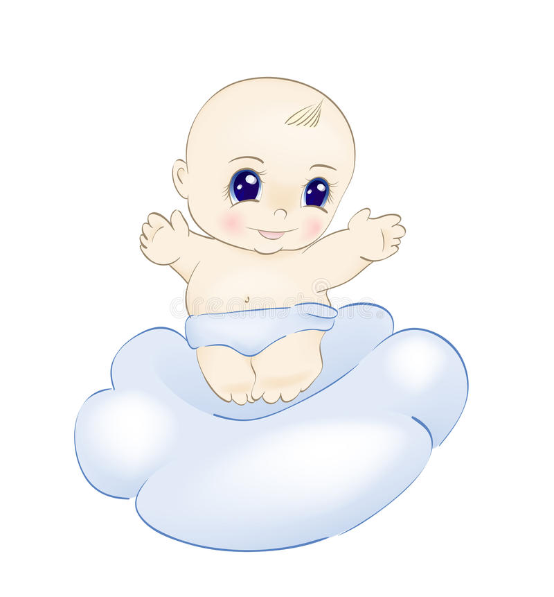 Baby op wolk royalty-vrije illustratie