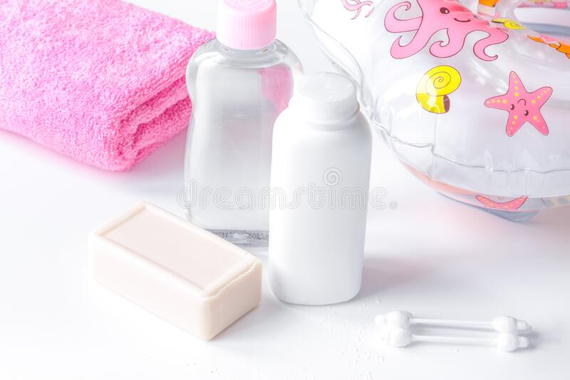 Baby organic cosmetic for bath on white bakground royalty free stock image