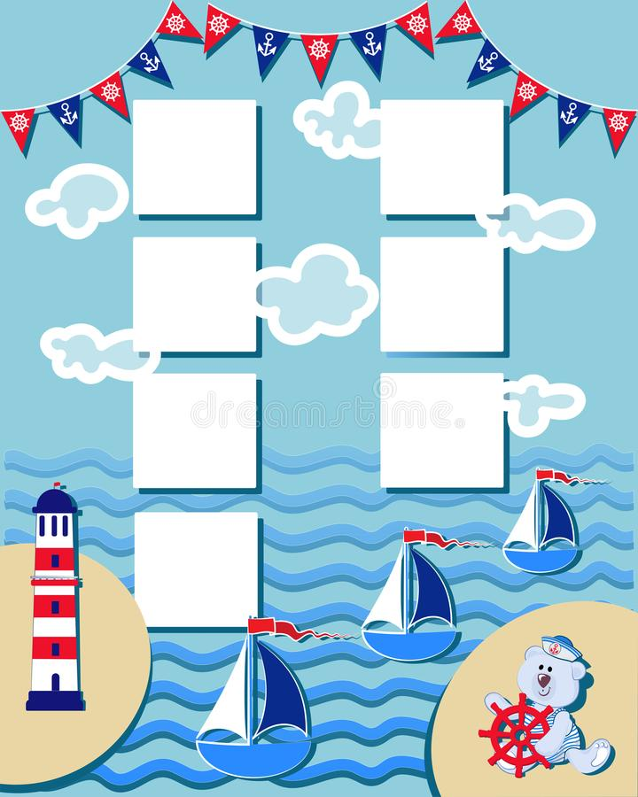 Baby organizer with funny Polar bear-toddler. Time of adventure and sea voyages. The layout can also be used for children`s photos stock illustration