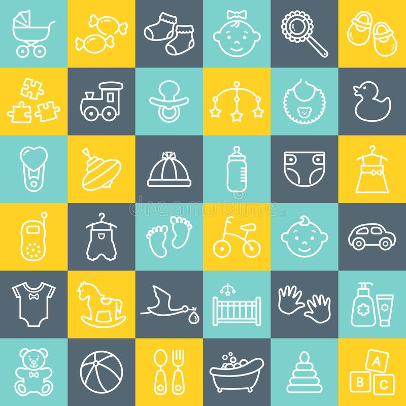 Baby Outline Icons  Editable Stroke  Vector Set  Stock