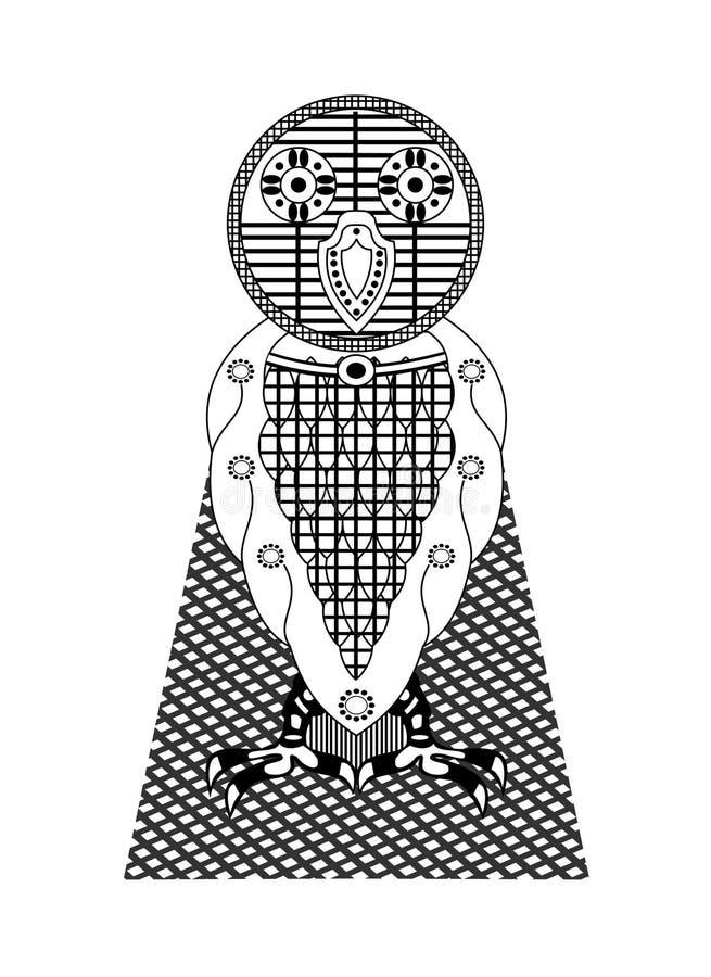 Baby Owl Pattern op Witte Achtergrond royalty-vrije illustratie