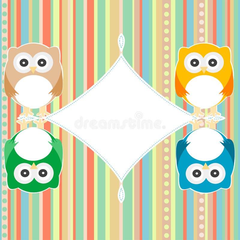 Baby owl scrap background. intitation card. vector vector illustration