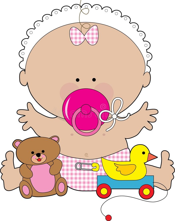 Baby Pacifier Girl. A baby girl with a huge pacifier in her mouth royalty free illustration