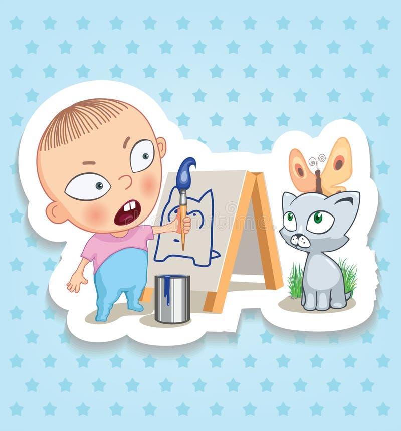 Baby_painter Счастливое детство детей Смешные стикеры стоковое фото