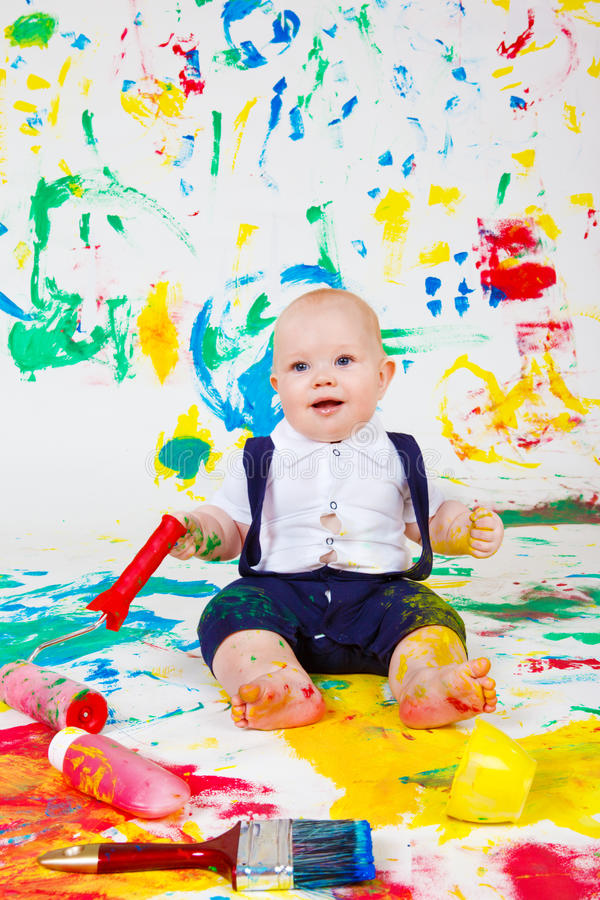 Baby painting royalty free stock photos