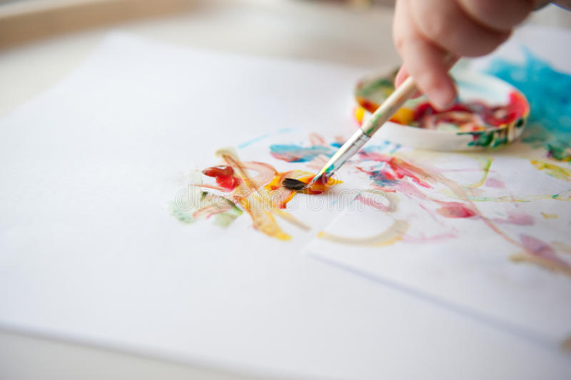Baby painting royalty free stock images