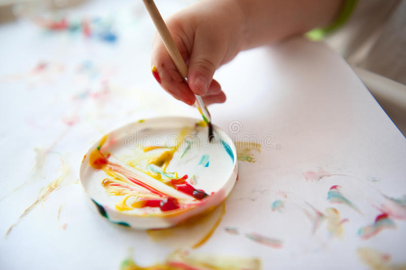 Baby painting royalty free stock photo