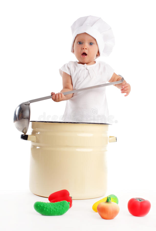 Baby in pan royalty free stock photos