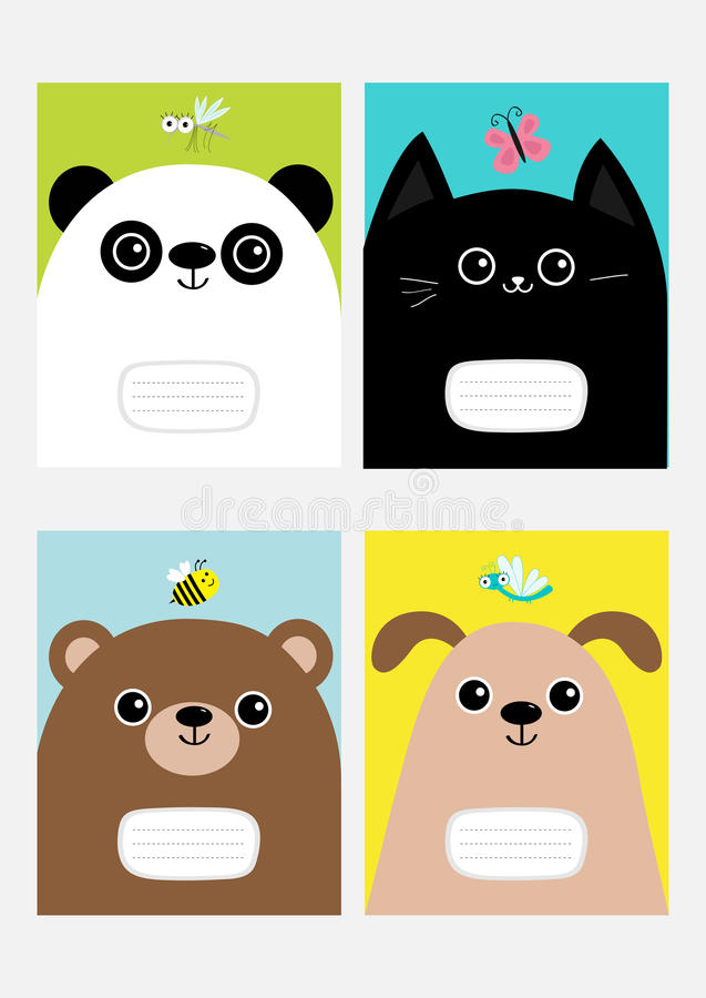 Baby panda, cat, dog, bear kitty head kitten. Notebook cover Composition book template set. Butterfly, dragonfly, bee mosquito ins. Ect Cute cartoon character royalty free illustration