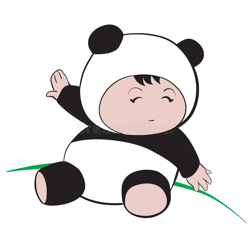 Baby in Panda Costume : done in a hand-drawn illustratio. N style stock illustration