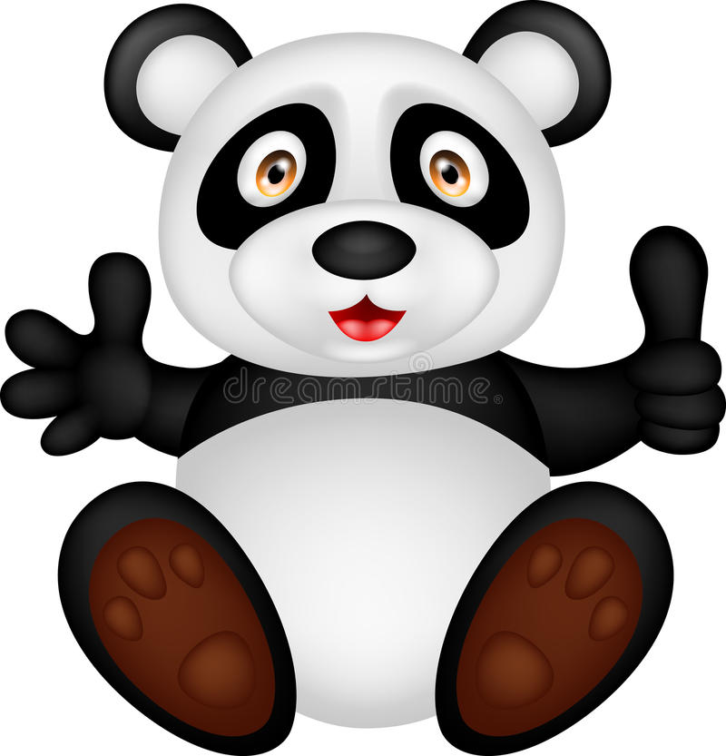 Baby panda with thumb up. Illustration of baby panda with thumb up vector illustration