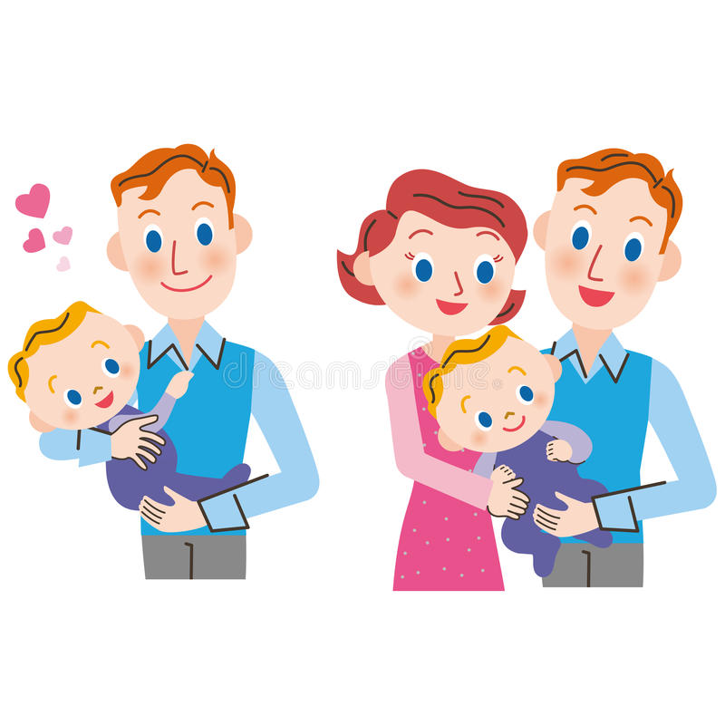 Baby and parent and child. The parent who holds a baby in its arm stock illustration