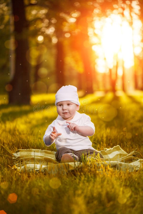 Baby in the park in the rays of sunset. Toddler on the nature outdoors. Backlight. Summertime family scene.  stock image