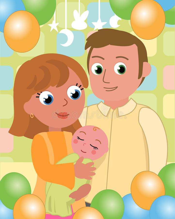 Baby party with mom and dad vector royalty free stock photo