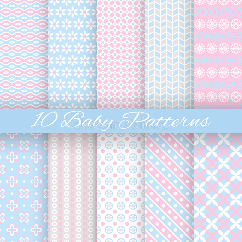 Baby pastel different vector seamless patterns vector illustration