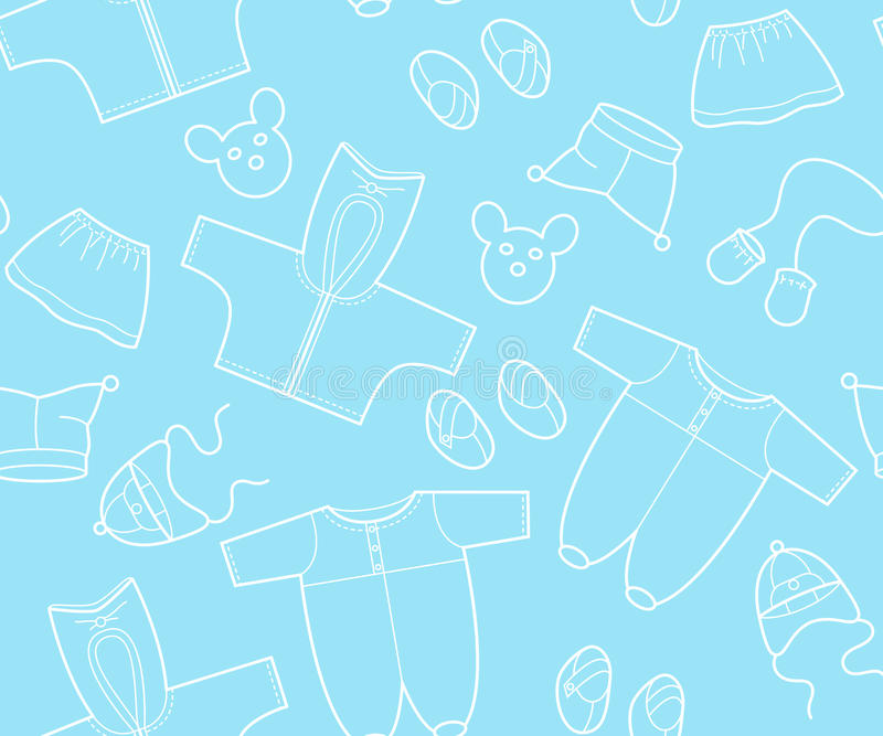 Baby pattern. The blue background from babies clothes stock illustration