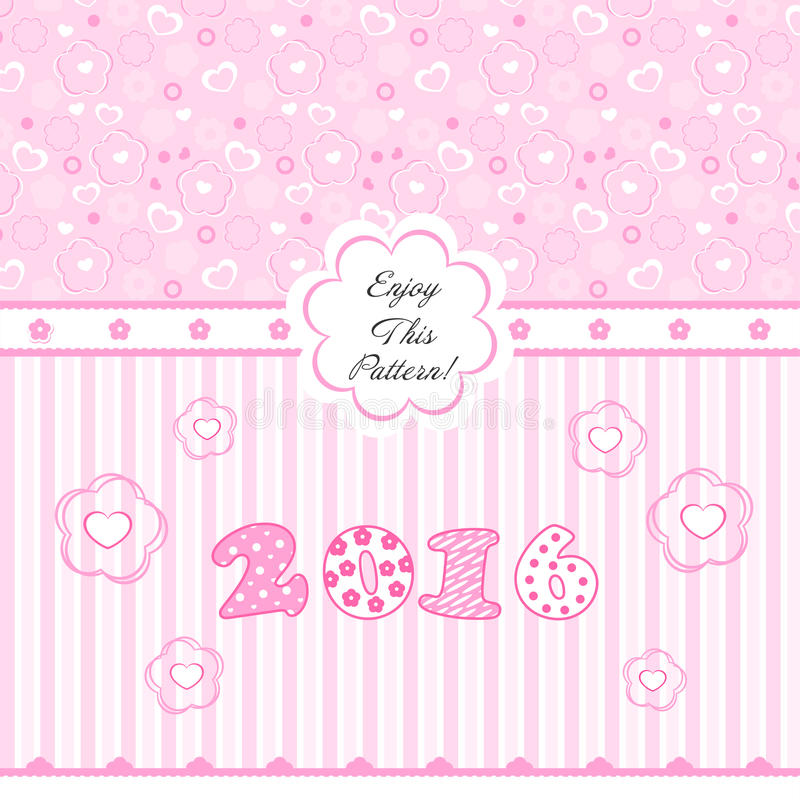 Baby Pattern with Flower, Bow and Heart royalty free stock photos