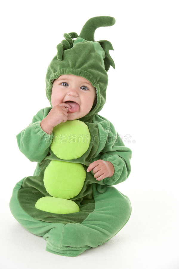 Baby in peas in pod costume royalty free stock photo