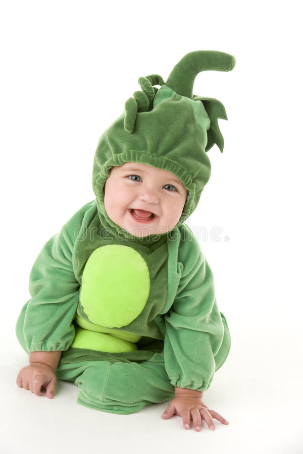 Baby in peas in pod costume smiling royalty free stock image