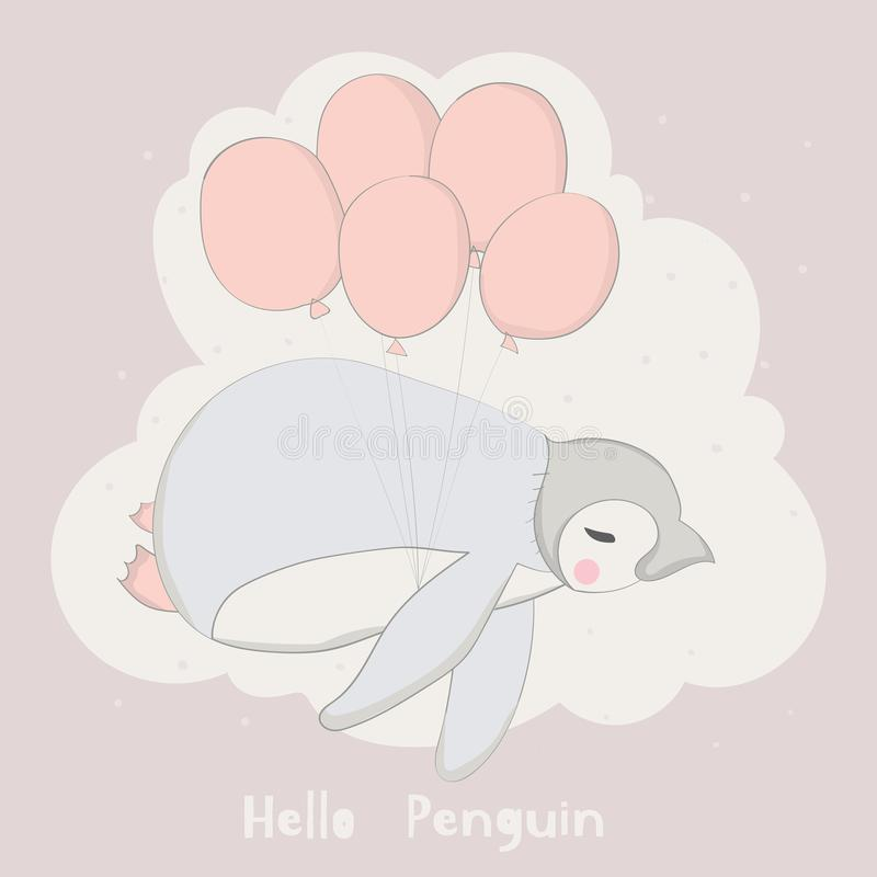 The baby penguin with balloons on a snow day. Hand drawn cartoon. Style vector illustration