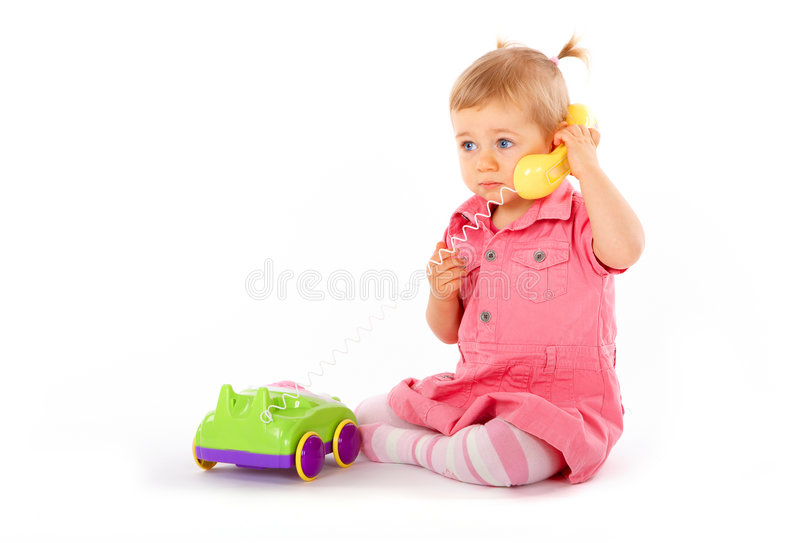 Baby with phone royalty free stock photos