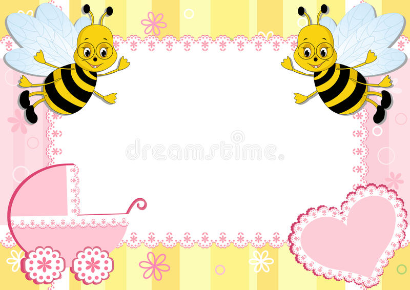 Baby Photo Frame With Bee. Stock Photography