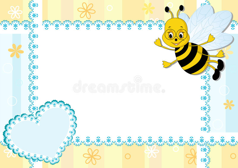 Baby Photo Frame With Bee. Royalty Free Stock Photos