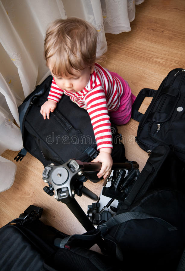 Download Baby with photography gear stock photo. Image of indoors - 18622898