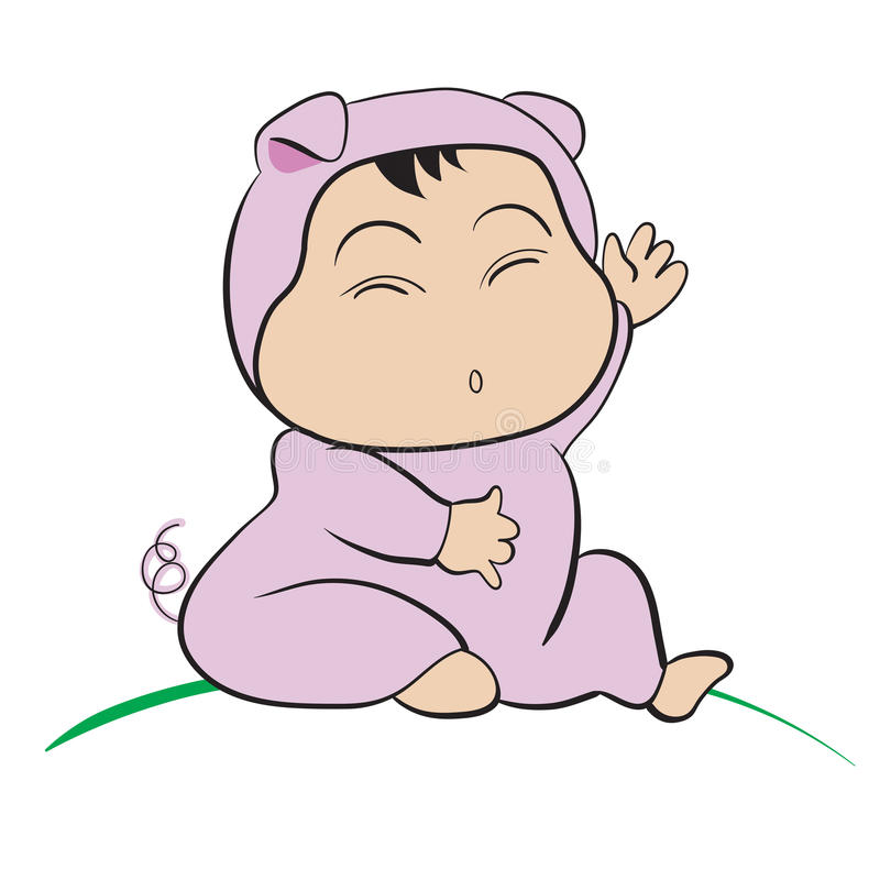 Baby in Pig Costume : done in a hand-drawn illustration. Style vector illustration