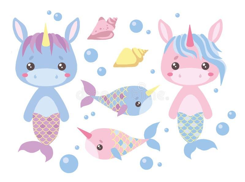 Baby pink and blue cartoon unicorn mermaids, swordfish, seashell and water bubbles vector illustration set stock illustration