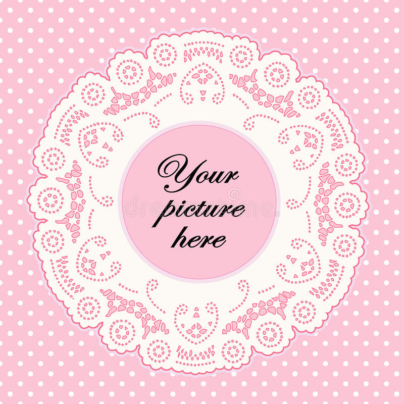 Download Baby Pink Lace Doily Frame, Polka Dot Background Stock Vector - Image: 10219927