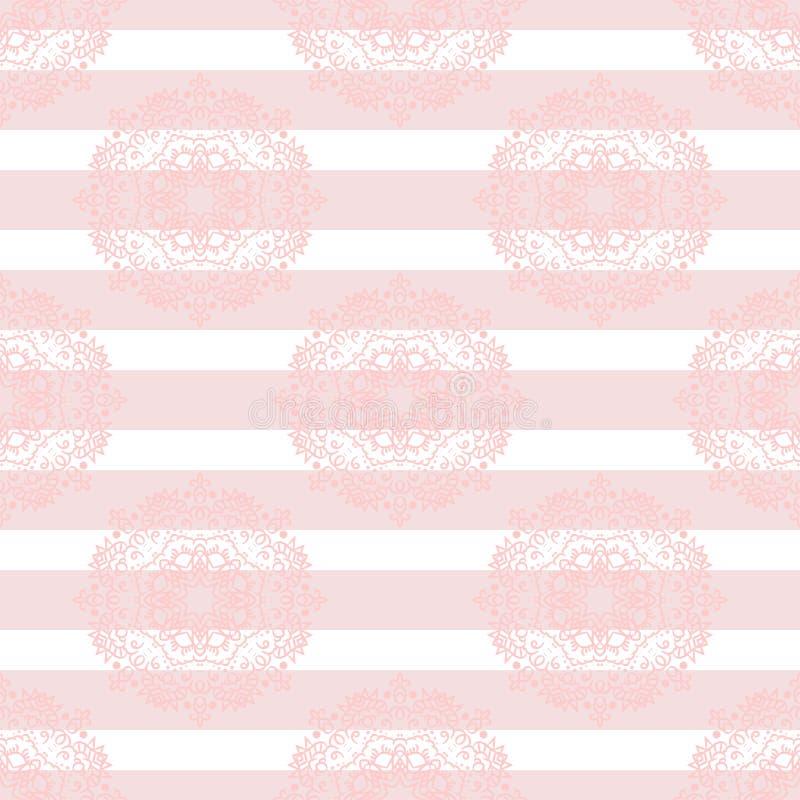 Baby pink mandala subtle striped seamless pattern royalty free illustration