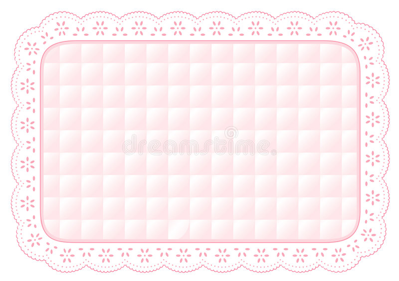 Lace Place Mat, Baby Pink Quilted Eyelet vector illustration