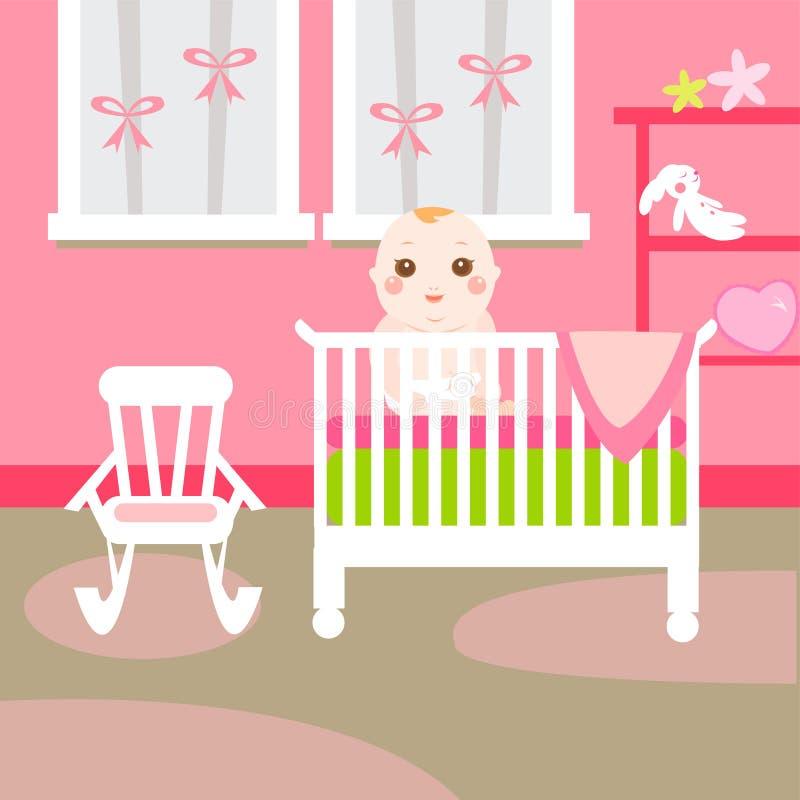 Baby pink room stock illustration