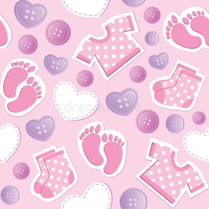Baby pink seamless pattern stock illustration
