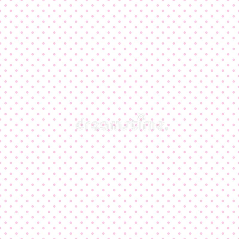Baby pink seamless polka dots for pattern background, wallpaper, texture, web, blog, print or graphic design. Baby Pink Beautiful Seamless polka dots on white vector illustration