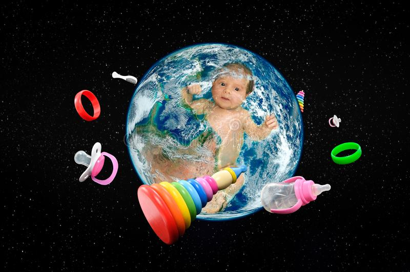 Baby in planet Earth in space and around revolve baby accessories stock image