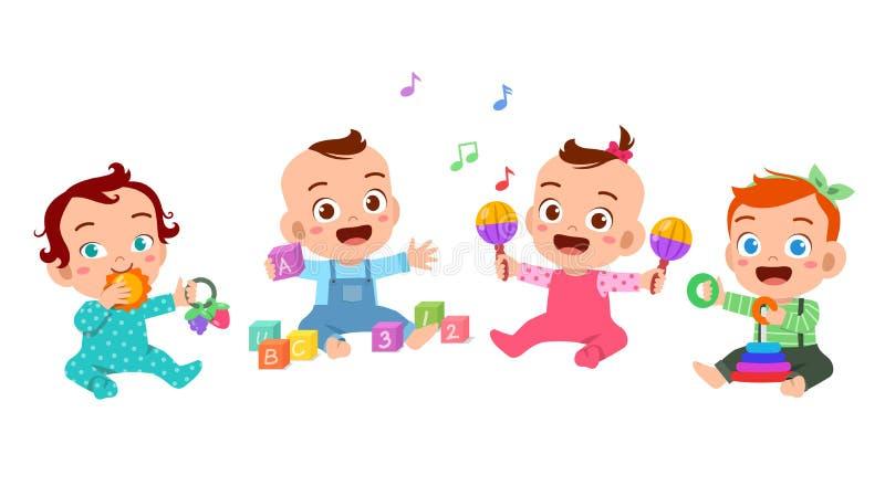 Baby play together vector illustration. Woman, car, child, girl, book, kid, school, cartoon, children, kindergarten, boy, cute, happy, room, toy, character stock illustration
