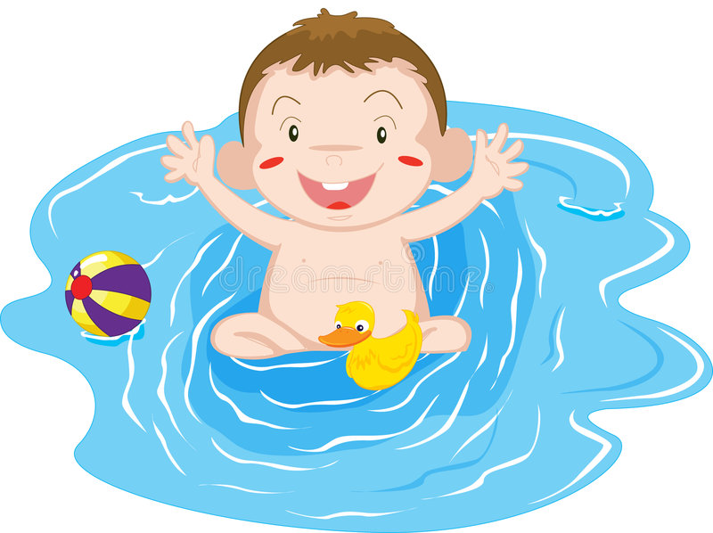 Baby playing. An illustration of a baby playing in a pool vector illustration