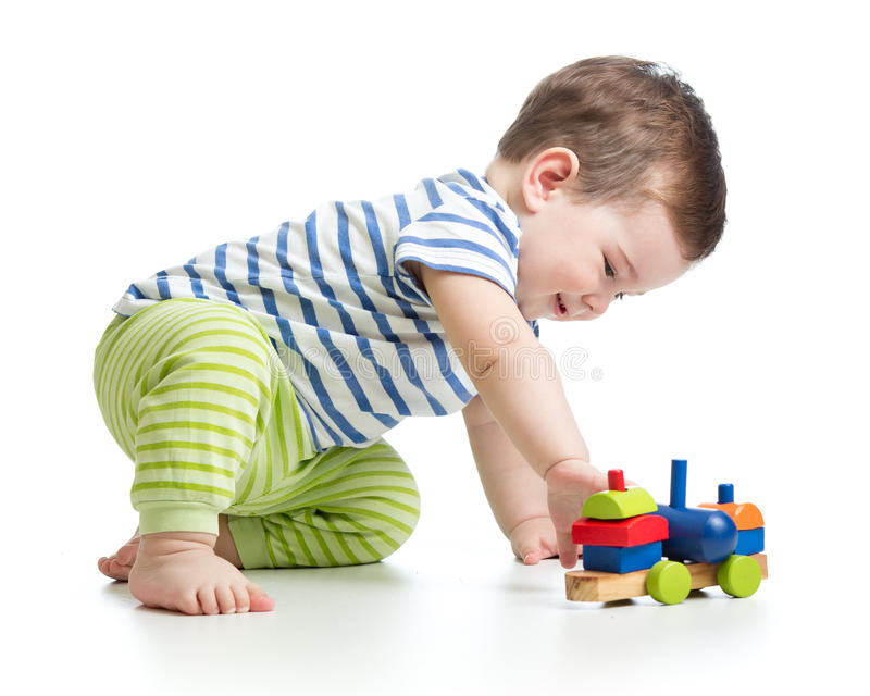 Baby playing with block toys royalty free stock photography