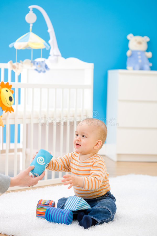Baby playing at home royalty free stock photos