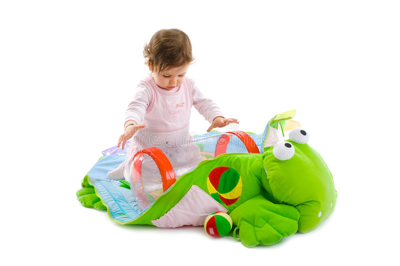 Baby playing isolated stock photos