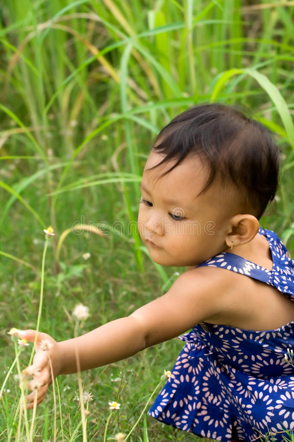 Baby Playing Outdoor Royalty Free Stock Photography