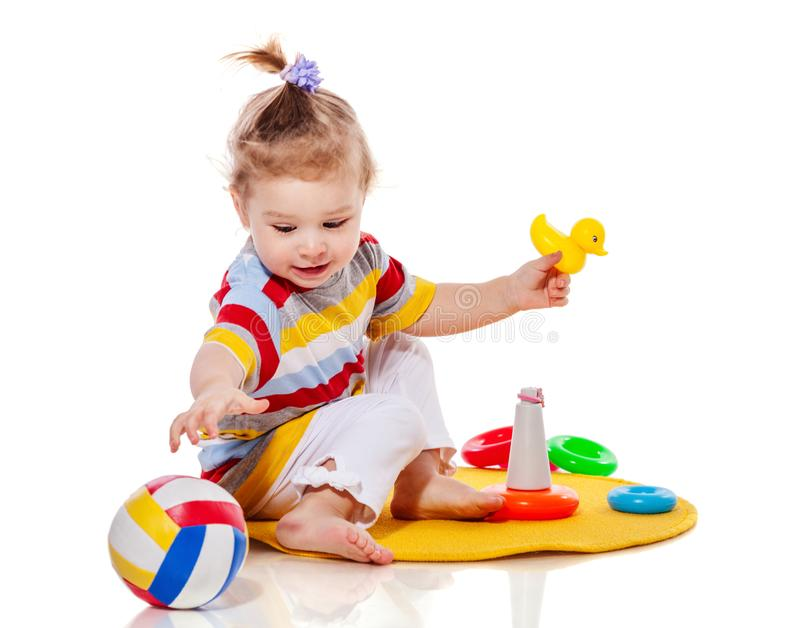 Toddler girl playing stock images